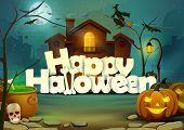 picture of happy halloween  - vector illustration of Happy Halloween wallpaper background - JPG