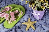 picture of pale  - summer scene with green flip flops starfish purple pale of flowers on vintage blue dress - JPG