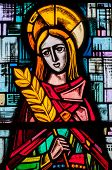 pic of chapels  - HENRI-LE-CHAPELLE - MAY 03 2015:  Stained glass in an abandoned chapel. - JPG