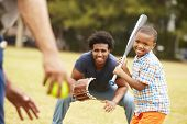 stock photo of grandfather  - Grandfather With Son And Grandson Playing Baseball - JPG