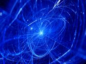 pic of higgs boson  - Blue glowing trajectories in space computer generated abstract background - JPG