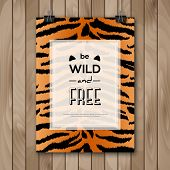 picture of slogan  - Vintage Animal Skin Background and Typography Design - JPG