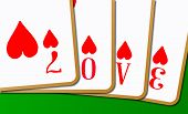 picture of card-making  - A playing card dummy hand making the word love - JPG