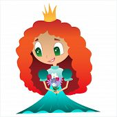 image of princess crown  - Red Princess dress with a crown and bouquet of flowers - JPG