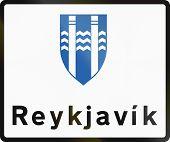 foto of municipal  - A Reykjavik Municipal Boundary Sign In Iceland - JPG