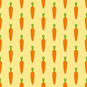 picture of root-crops  - Seamless pattern with repeating stylized cartoon carrots with cropped green top isolated on light yellow background - JPG