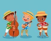 stock photo of double-bass  - illustration of children playing music instrument in hawaii shirt - JPG