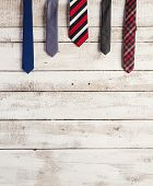 picture of composition  - Fathers day composition of various ties hang on wooden wall background - JPG
