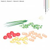 stock photo of scallion  - Healthcare Concept Illustration of Spring Onion or Scallion with Vitamin K Vitamin C Vitamin A and Minerals Tablet Essential Nutrient for Life - JPG