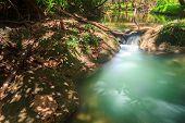 image of waterfalls  - Waterfalls In Deep Forest at Huai Mae Khamin Waterfall in National Park Kanchanaburi Thailand - JPG