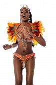 picture of samba  - Samba woman dancer celebrating over white background - JPG
