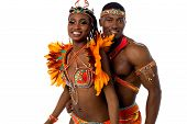 stock photo of samba  - Happy samba dancers posing together over white - JPG