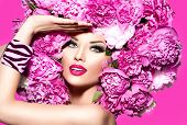 stock photo of vivid  - Beauty High Fashion Model Girl with pink Peony hair style - JPG