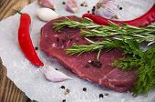 pic of beef shank  - Fresh beef steak with aromatic spices on a wooden background - JPG