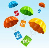 picture of parachute  - Vector illustration parachute with paper bag sale in the sky - JPG