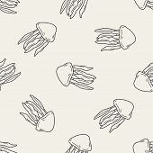 stock photo of jellyfish  - Jellyfish Doodle - JPG