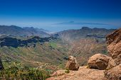 image of plateau  - Panoramic view from the plateau from Roque Nublo - JPG