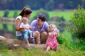image of father child  - Family on summer hike - JPG