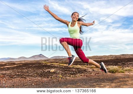poster of Success freedom carefree runner woman running fun. Happiness, joy, energetic athlete girl happy of w