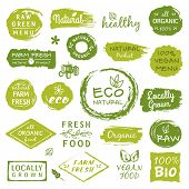 Collection of healthy organic food labels, logos for restaurants, vegan cafe, farm market and organi poster