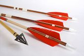 stock photo of fletching  - Photo from wooden fletched bow arrows and hunting point  - JPG
