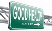 healthy life good health and vitality energy live healthy mind and body road sign billboard, 3D illu poster