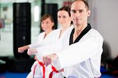 image of taekwondo  - People in a gym in martial arts training exercising Taekwondo - JPG