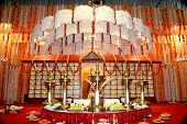 image of indian wedding  - Indian marriage podium with Jasmine flower decorations - JPG