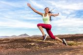 Success freedom carefree runner woman running fun. Happiness, joy, energetic athlete girl happy of w poster