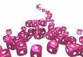 Stream Of Pink Cubes With Heart Prints