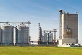 grain silos for agriculture on blue sky