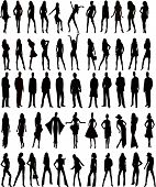 stock photo of person silhouette  - Hundreds of People Silhouettes men and women  - JPG