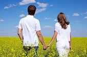 Voltar a vista do casal amoroso andando em Prado amarelo no verão