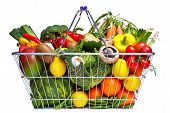 Shopping Basket Fruit And Vegetables Isolated On White