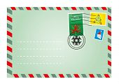 Vector illustration of Christmas envelope with cute stamps
