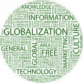 GLOBALIZACIÓN. Palabra collage sobre fondo blanco. Ilustración con términos diferentes de la asociación.