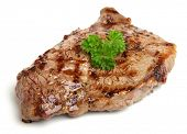 Chargrilled sirloin beef steak.