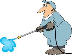 pic of pressure-wash  - This illustration depicts a worker using a high pressure power washer - JPG