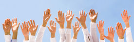 stock photo of hands up  - Close - JPG