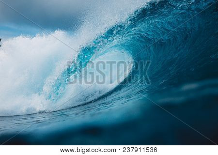 Big Ocean Blue Wave Breaking