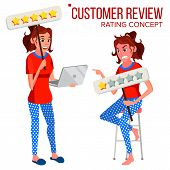 Customer Review Vector. Positive, Negative Review. Testimonials Messages. Client Rate And Text. Happ poster