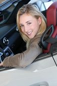 Beautiful woman sitting in brand new car poster