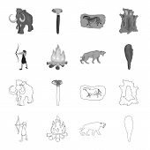 Man, Hunter, Onion, Bonfire .stone Age Set Collection Icons In Outline, Monochrome Style Vector Symb poster