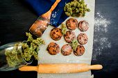 Cookies With Cannabis And Buds Of Marijuana On The Table. Top Viewconcept Of Cooking With Cannabis H poster