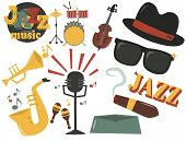 Jazz Musical Instruments Tools Icons Jazzband Piano Saxophone Music Sound Vector Illustration Rock C poster