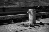 Mooring Bollard For River Boat, Steel Post For Moorings. poster