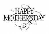Happy Mother Day Lettering With Flourish. Mothers Day Design Element. Typed Text, Calligraphy. For G poster