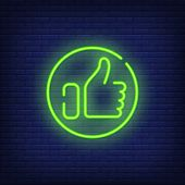 Thumb Up Neon Sign. Bright Hand Showing Thumb-up In Round.  Night Bright Advertisement. Vector Illus poster