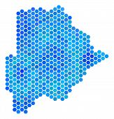 Постер, плакат: Hexagon Blue Botswana Map Vector Geographic Map In Cold Color Tinges On A White Background Blue Ve