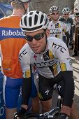 Mark Cavendish from HTC Highroad team preparing to start the Tour of Britiain 2011 stage five from E